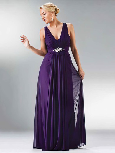 Chiffon A-line V-neck Floor-length Beading Bridesmaid Dresses #PDS01012441
