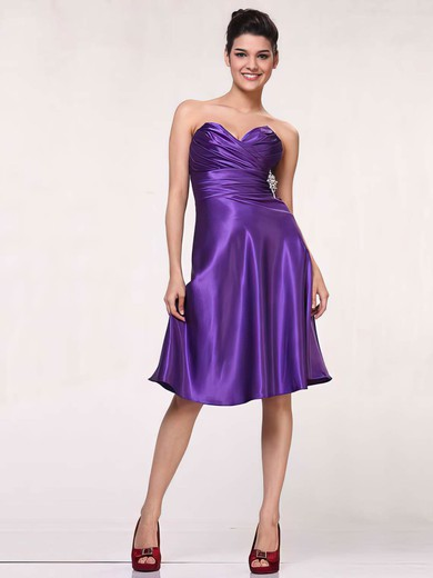 Silk-like Satin A-line Sweetheart Knee-length Ruffles Bridesmaid Dresses #PDS01012443