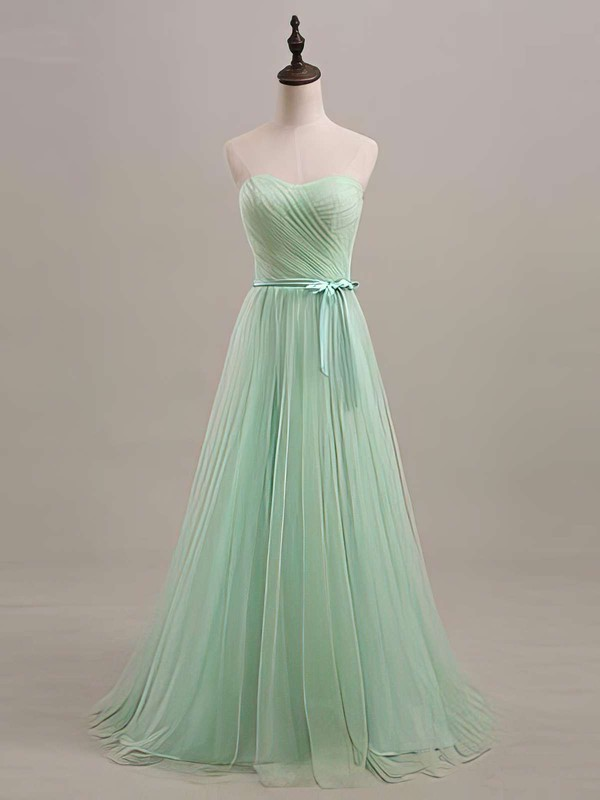 Elegant Sweetheart Sage Tulle Sashes/Ribbons Lace-up Bridesmaid Dresses #PDS01012446