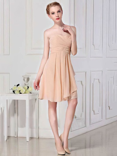 Chiffon A-line Sweetheart Short/Mini Ruffles Bridesmaid Dresses #PDS01012448