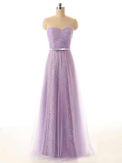 Designer Tulle Lace with Sashes/Ribbons Sweetheart Lilac Bridesmaid Dresses #PDS01012449