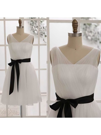 Ivory Tulle with Sashes/Ribbons V-neck Short/Mini Bridesmaid Dresses #PDS01012452