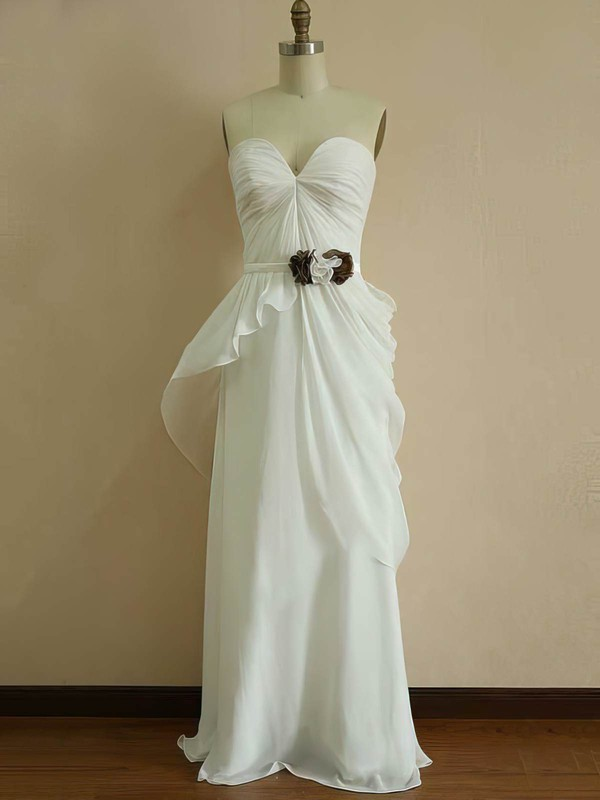 Chiffon Princess Sweetheart Floor-length Ruffles Bridesmaid Dresses #PDS01012453