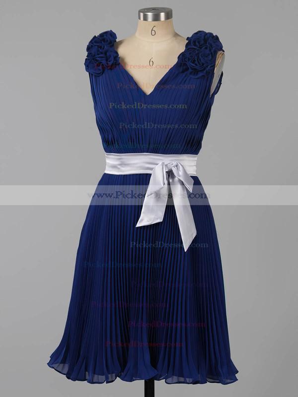 Unique Dark Navy Chiffon Sashes/Ribbons V-neck Short/Mini Bridesmaid Dresses #PDS01012454