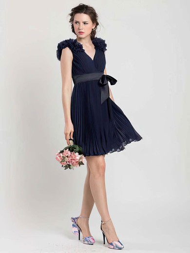Unique Dark Navy Chiffon Sashes/Ribbons V-neck Short/Mini Bridesmaid Dresses #PDS01012454