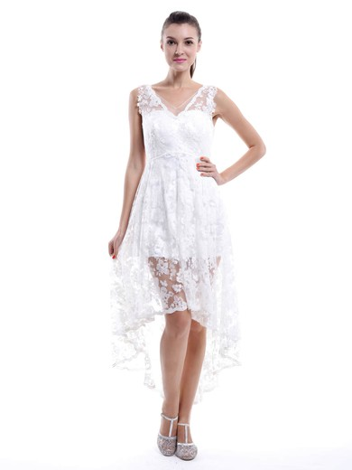 Asymmetrical V-neck White Lace Ruffles High Low Bridesmaid Dresses #PDS01012456