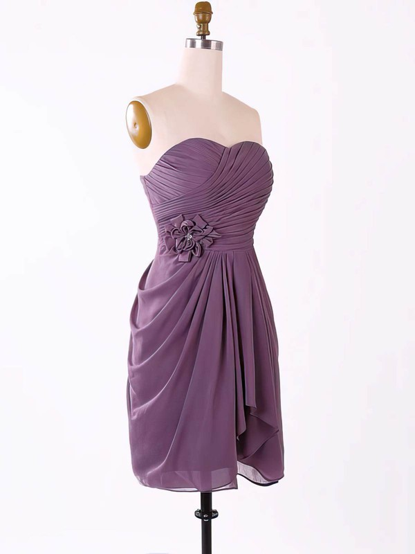Pretty Sweetheart Short/Mini Chiffon Flower(s) Grape Bridesmaid Dresses #PDS01012457