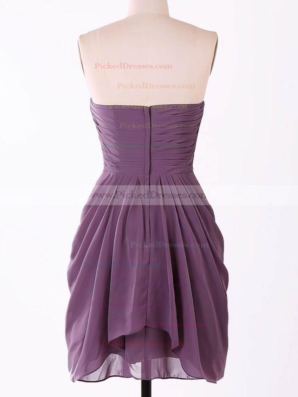 Pretty Sweetheart Short/Mini Chiffon Flower(s) Grape Bridesmaid Dresses #PDS01012457