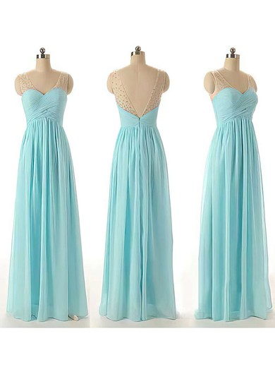 V-neck Chiffon Tulle with Beading Blue Promotion Bridesmaid Dresses #PDS01012460