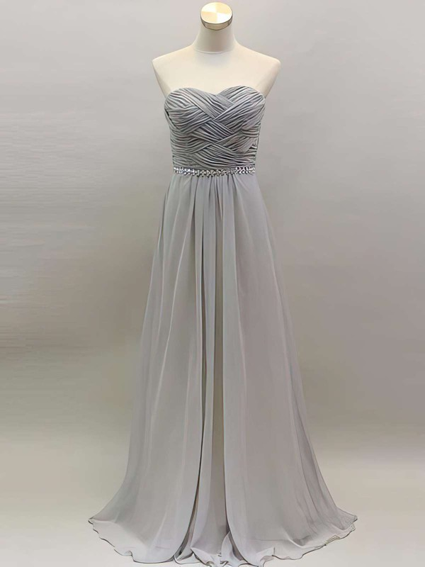 Perfect Light Slate Gray Chiffon Beading Sweetheart Long Bridesmaid Dress #PDS01012461