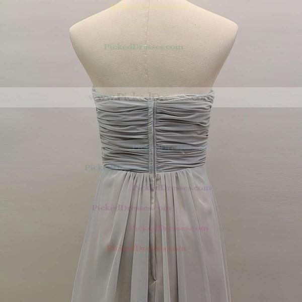 Perfect Light Slate Gray Chiffon Beading Sweetheart Long Bridesmaid Dress #PDS01012461