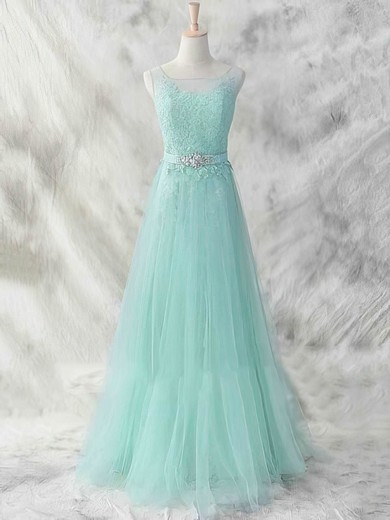 Tulle A-line Scoop Neck Court Train Appliques Lace Bridesmaid Dresses #PDS01012462