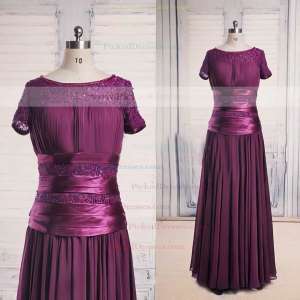 Scoop Neck Purple Lace Chiffon Beading Short Sleeve Great Mother of the Bride Dress #PDS01021563