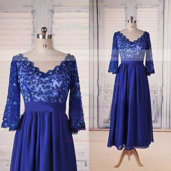 Tea-length 1/2 Sleeve Royal Blue Chiffon Lace with Beading V-neck Mother of the Bride Dress #PDS01021564