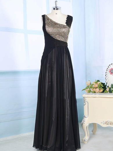 Exclusive Floor-length Chiffon Elastic Woven Satin with Beading V-neck Mother of the Bride Dress #PDS01021565