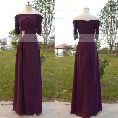 Off-the-shoulder 1/2 Sleeve Purple Chiffon Pleats Floor-length Mother of the Bride Dress #PDS01021566