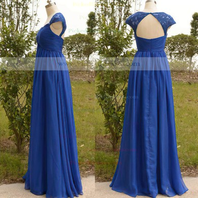 Sweetheart Cap Straps Appliques Lace Royal Blue Chiffon Tulle Mother of the Bride Dress #PDS01021567