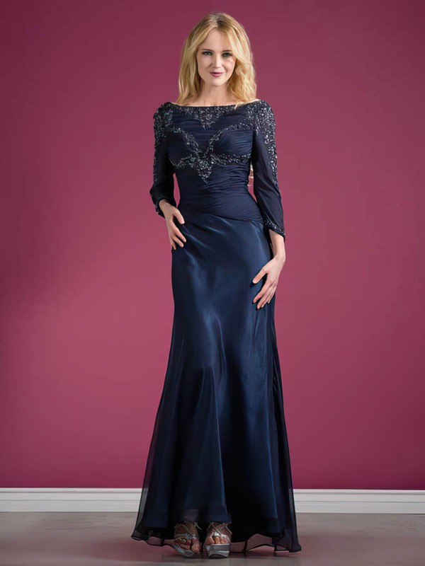Chiffon Elastic Woven Satin Trumpet/Mermaid Off-the-shoulder Ankle-length Beading Mother of the Bride Dresses #PDS01021569