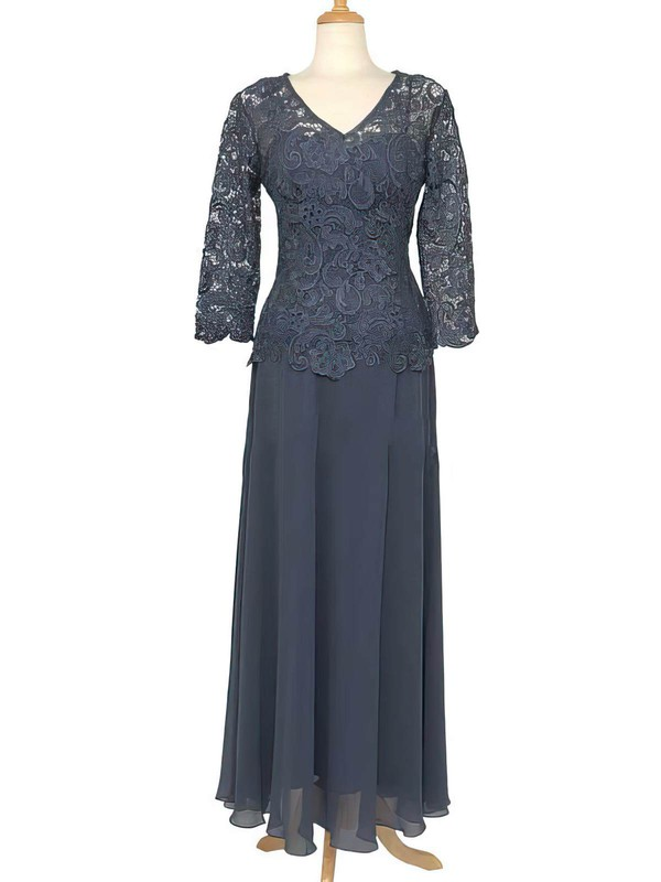 V-neck 3/4 Sleeve Lace Chiffon Floor-length Nicest Mother of the Bride Dress #PDS01021558