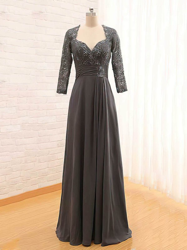 Boutique A-line Lace Chiffon with Beading 3/4 Sleeve V-neck Mother of the Bride Dress #PDS01021561