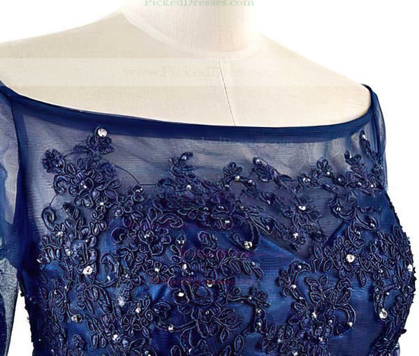 Floor-length Short Sleeve Royal Blue Chiffon Tulle Appliques Lace Off-the-shoulder Mother of the Bride Dress #PDS01021562