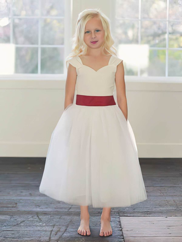 Tulle A-line Sweetheart Ankle-length Sashes / Ribbons Flower Girl Dresses #PDS01031794