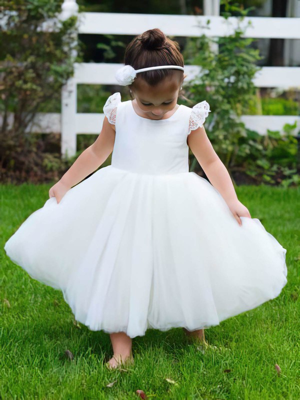 Scoop Neck Ivory Tulle Lace Cheap Tea-length Ball Gown Flower Girl Dress #PDS01031795
