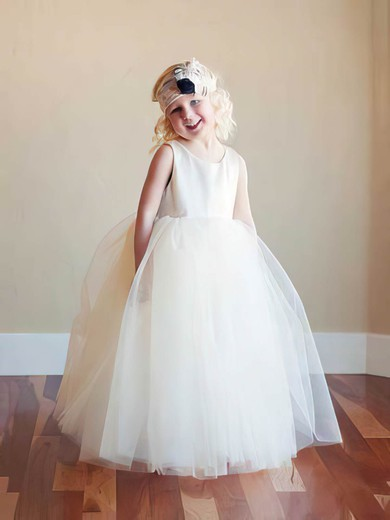 Ball Gown Tulle with Ruffles Scoop Neck Designer Ivory Flower Girl Dress #PDS01031796