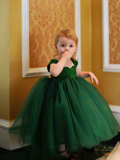 2016 Tulle Ruffles Ball Gown Tea-length Dark Green Flower Girl Dress #PDS01031797
