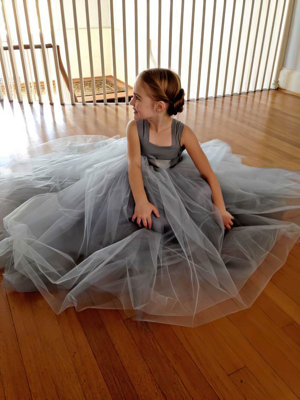 Elegant Silver Floor-length Tulle with Bow Square Neckline Flower Girl Dresses #PDS01031798