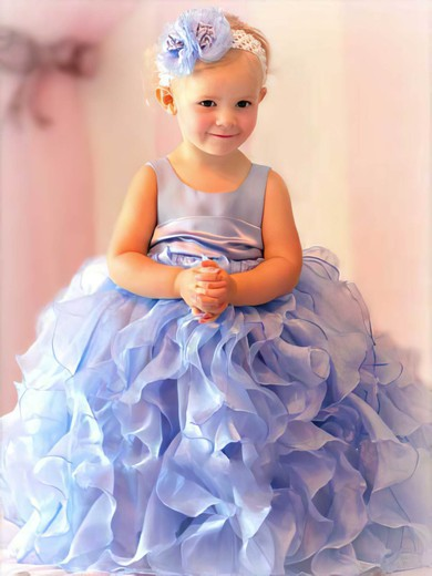 Organza Ball Gown with Flower(s) Light Sky Blue Scoop Neck Best Flower Girl Dress #PDS01031801
