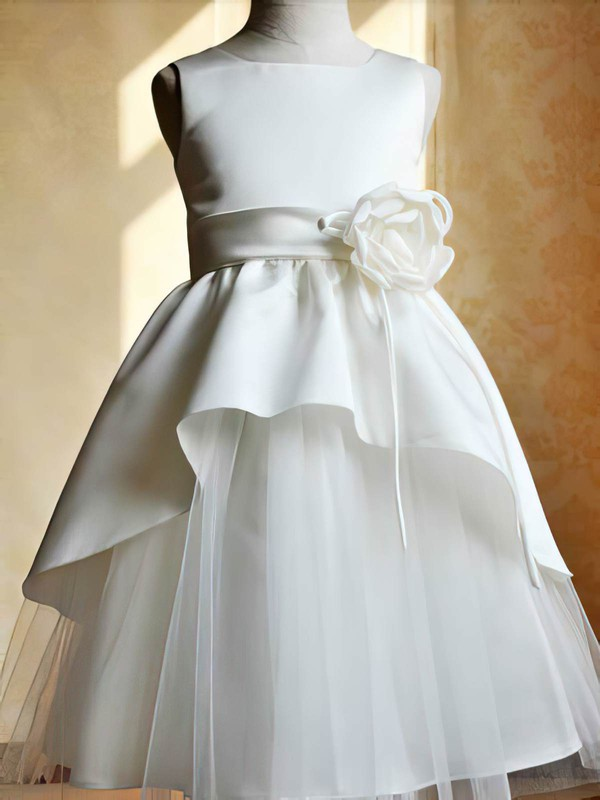 Pretty Ankle-length Satin Tulle Scoop Neck Flower(s) Ivory Flower Girl Dresses #PDS01031802