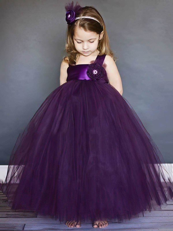 Square Neckline Girls Ball Gown Tulle Flower(s) Purple Flower Girl Dresses #PDS01031803