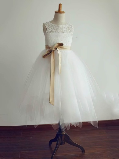 Open Back Tea-length Lace Tulle with Sashes/Ribbons Affordable Ivory Flower Girl Dresses #PDS01031804