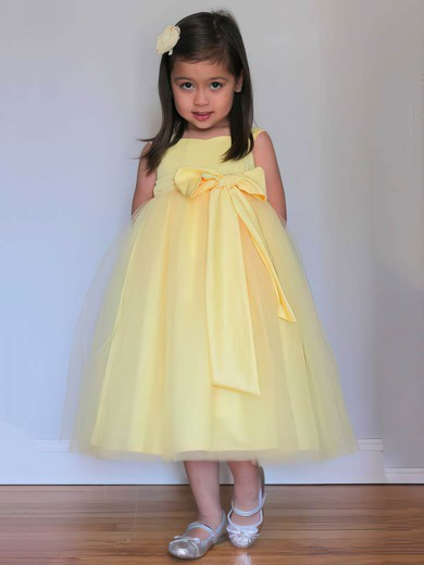 Inexpensive Tulle with Bow Square Neckline Tea-length Yellow Flower Girl Dresses #PDS01031805