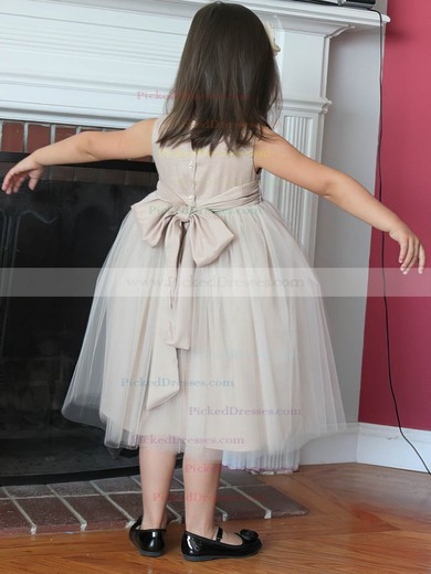 Perfect Tulle with Bow Scoop Neck Tea-length Flower Girl Dress #PDS01031806