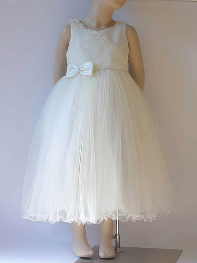 Tea-length Ivory Scoop Neck Satin Tulle Bow New Flower Girl Dress #PDS01031807