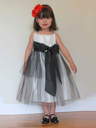 Latest Tulle Taffeta Tea-length Sashes/Ribbons Square Neckline Flower Girl Dress #PDS01031808