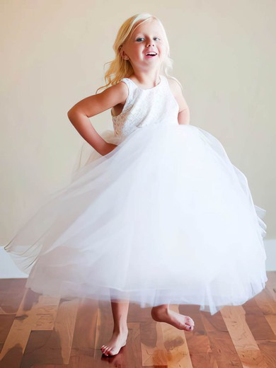Beautiful Scoop Neck Lace Tulle Ruffles Ankle-length White Flower Girl Dress #PDS01031809
