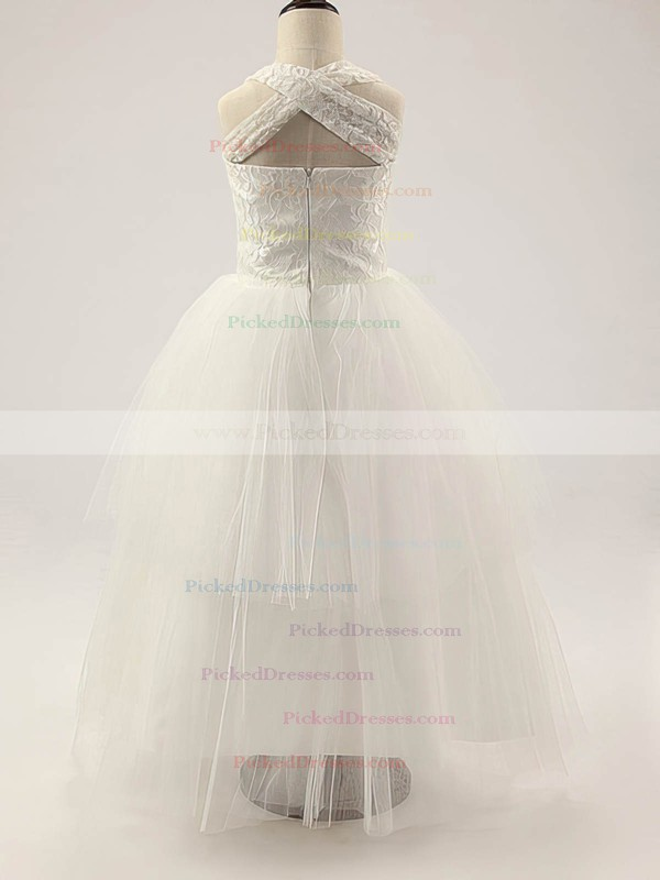 Affordable Square Neckline Ivory Lace Tulle Ruffles Floor-length Flower Girl Dress #PDS01031810