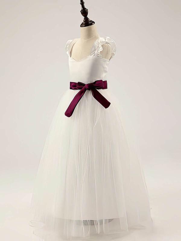 Popular Satin Tulle Floor-length Straps with Sashes/Ribbons Ivory Flower Girl Dress #PDS01031811