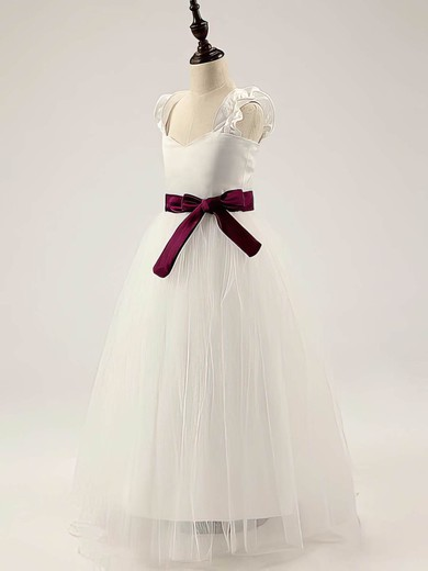 Popular Satin Tulle Floor-length Straps with Sashes/Ribbons Ivory Flower Girl Dress #PDS01031811