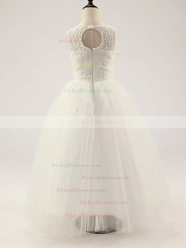 Ivory Scoop Neck Ruffles Lace Tulle A-line Original Flower Girl Dress #PDS01031812