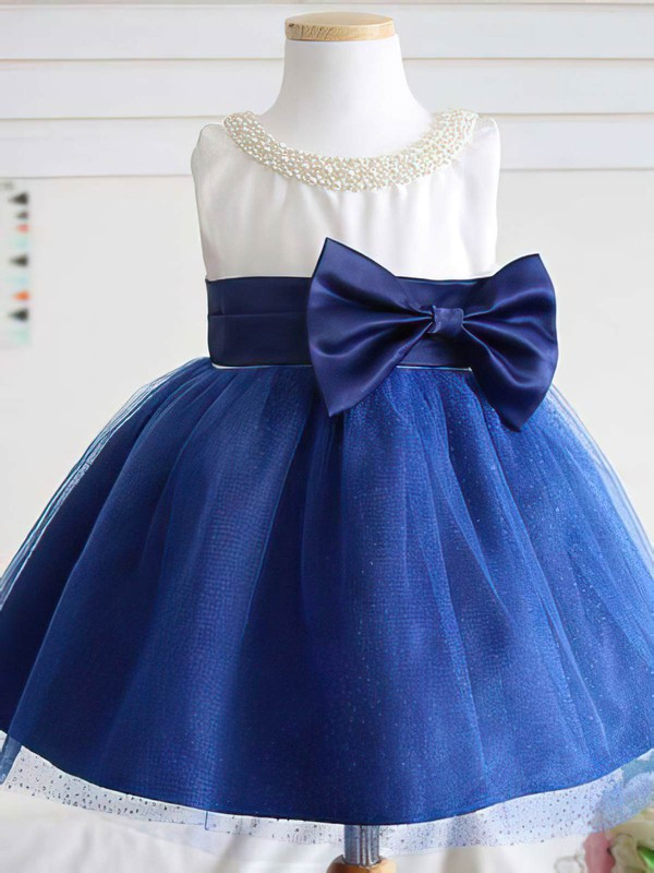 Princess Scoop Neck Satin Tulle Pearl Detailing Cute Flower Girl Dress #PDS01031813