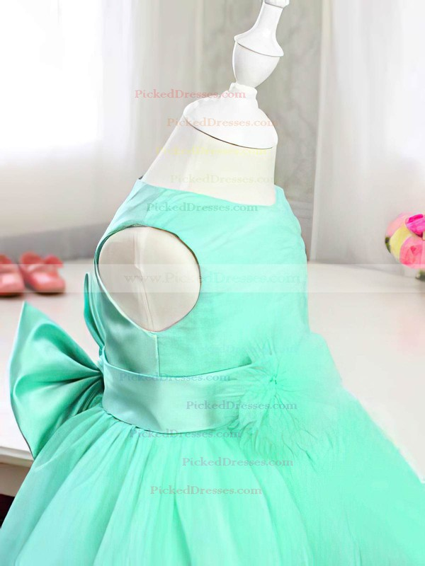Gorgeous Scoop Neck Green Satin Tulle with Bow Tea-length Flower Girl Dress #PDS01031814