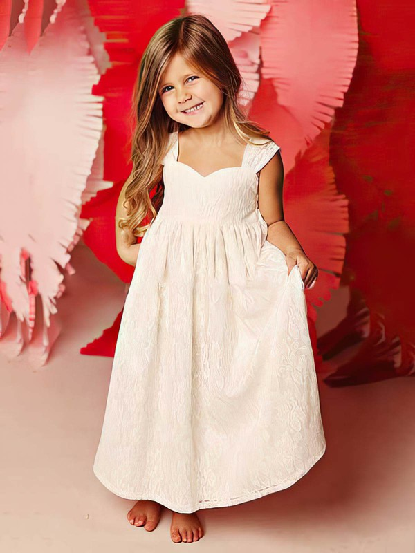 Cute Ivory Square Neckline Lace Ruffles Straps Ankle-length Flower Girl Dress #PDS01031815