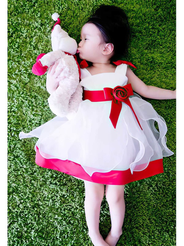 Newest Multi Colours Satin Organza Flower(s) Tea-length Square Neckline Flower Girl Dress #PDS01031819