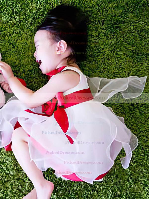 Newest Multi Colours Satin Organza Flower(s) Tea-length Square Neckline Flower Girl Dress #PDS01031819
