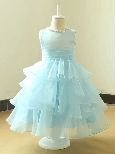 Scoop Neck Tea-length Great Tiered Organza Light Sky Blue Flower Girl Dress #PDS01031820