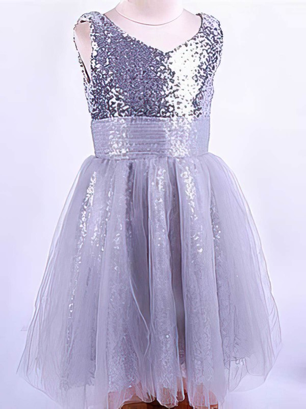 Fashion Tulle Sequined with Ruffles Ankle-length V-neck Flower Girl Dress #PDS01031821